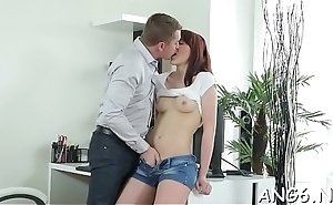Beauty is stroking chaps aroused willy at hand their way mouth