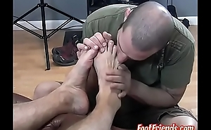 Beefy homo Dog relaxed with passionate toe engulfing
