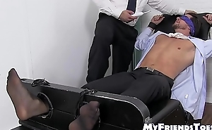 Blindfolded and restrained stud receives hard tickling