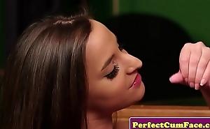 UK schoolgirl jerking onwards facial cumshot