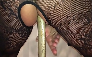 Homemade Old hat modern British Milf - Filmed on My i-phone Squatting on a Huge Long Pick Axe Handle Abysm in Her Arse Hole, Such a Scurrilous Whore!
