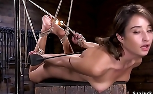 Consolidated tits brunette hogtied and screwed