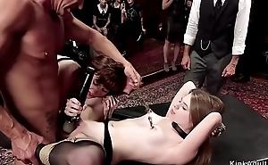 Hot babes fucked and made lick at orgy