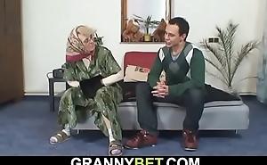 Lonely grey grandma sucks and rides his load of shit