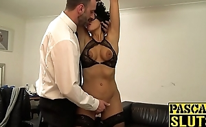 BDSM enthusiast Peppery Flesh-coloured pumped before big cock cumshot