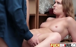 Redhead gets fucked on desk by private investigator