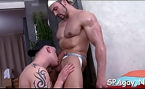 Dewy hawt rub-down session for lickerish homosexual stud