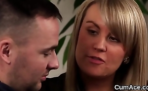 Weirdo honey receives jizz flow on her face eating all rub-down the juice