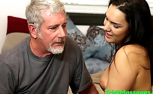 Masseuse babe pussyfucked by older guy