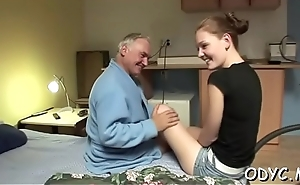 Stunning amateur teen honey gives fat old dude hot blowjob
