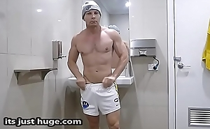 Footy Player - Locker Room Flex - shirtless Muscle Zak Rogerz Footy Shorts Video