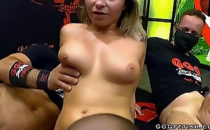 Busty tattooed tow-headed shows gangbang with swallowing