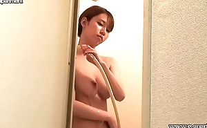 Slender Japanese with Nice Tits Taking a Shower on Cam