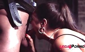 Dominatrix Marta La Croft rides masked man'_s throbbing dick in taboo cave GP409