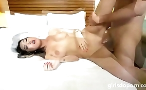 Asian with big tits gets fucked hard