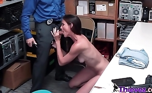 Naughty Sofie is caught at the end of one's tether horny officer