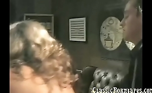 Two hot dudes fucks a blonde lady in output porn