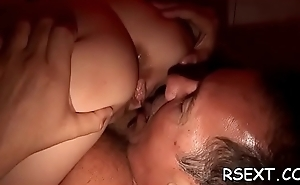 Lovely call-girl gives hot irrumation and spreads wide be required of dick