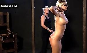 Hard whipping for blonde slut