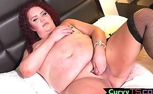 Redheaded curvy tgirl masturbates